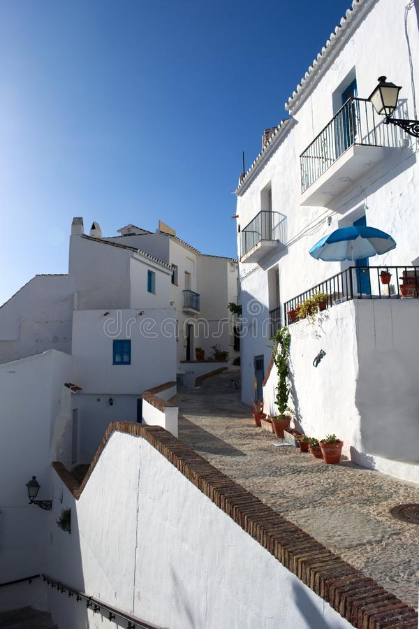 Spain, Frigiliana. Steep alleys on a spring day. stock images