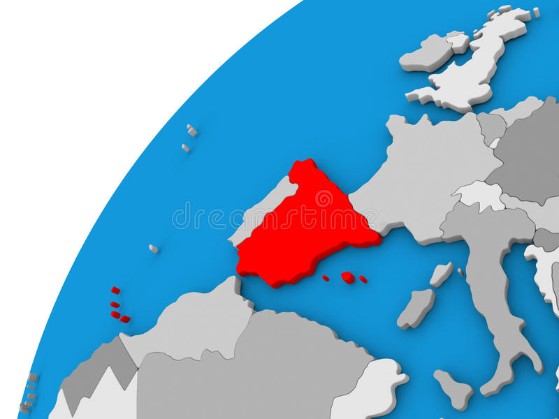 Spain on globe in red. Spain highlighted in red on globe with visible country borders. 3D illustration royalty free illustration