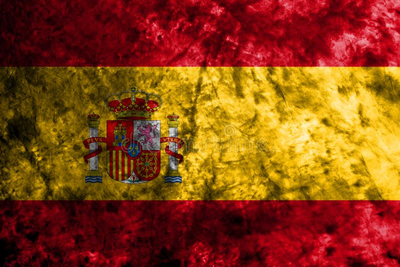 Spain grunge flag on old dirty wall stock illustration