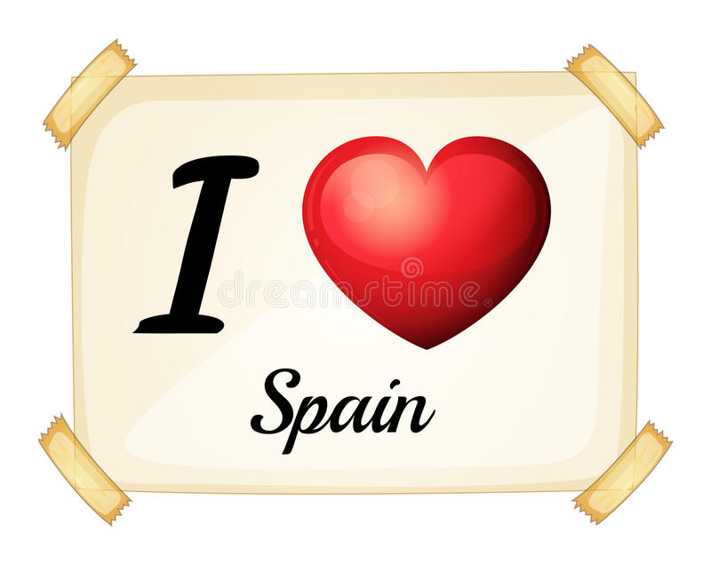 Spain. I love Spain posted on the wall vector illustration