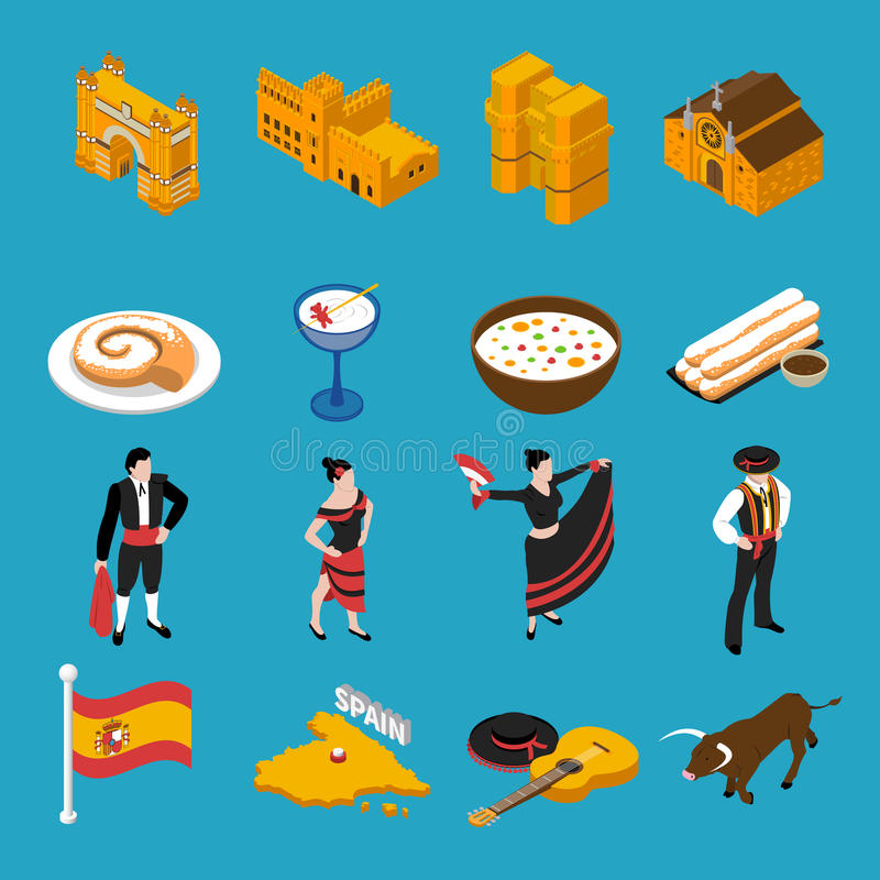 Spain Icons Set. Touristic Spain isometric icons set on blue background isolated vector illustration royalty free illustration
