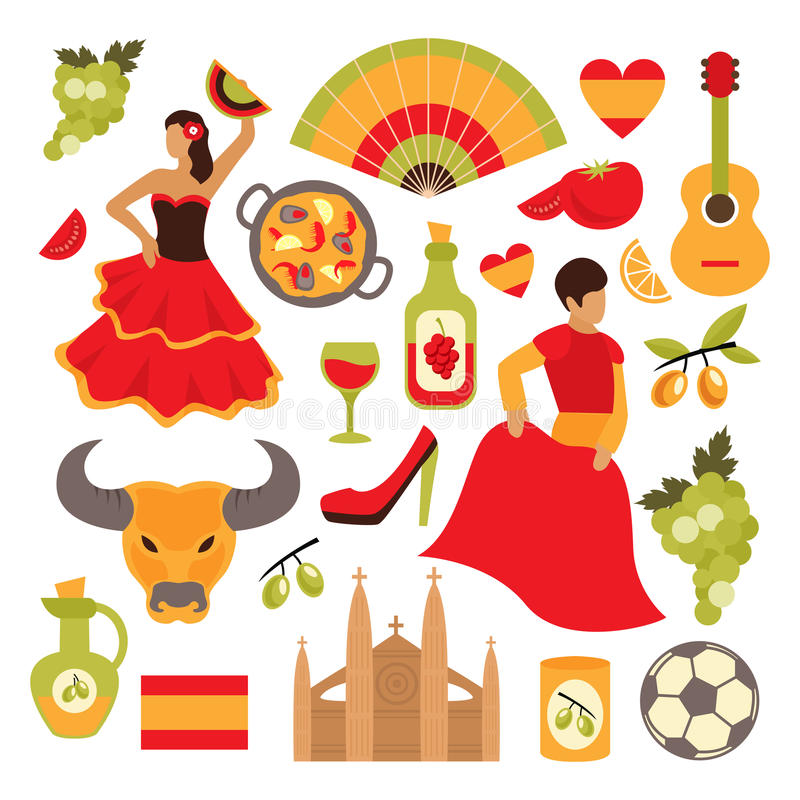 Spain icons set. Spain travel tourist attractions icons set isolated vector illustration vector illustration