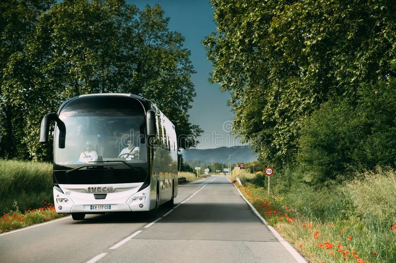 Spain. Iveco Bus In Motion On Spanish Country Road royalty free stock image