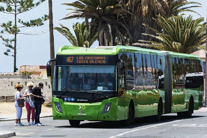 The passenger bus SCANIA for the transport company Titsa La Cal royalty free stock photos