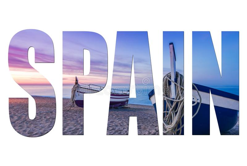 Spain letters isolated with image stock photography
