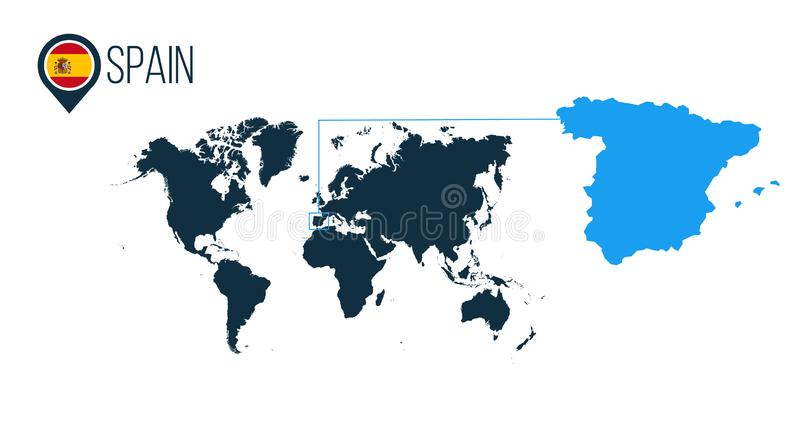 Spain location modern vector map for infographics. All world countries without names. Spain round flag in the map pin or marker. royalty free illustration