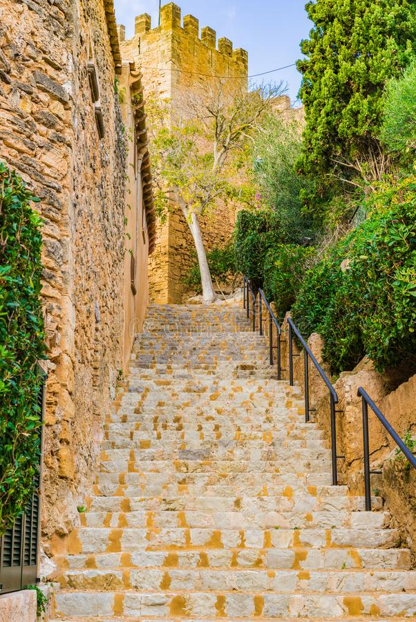 Spain Majorca, stairs to the old castle of Capdepera. Stairs to the Castell de Capdepera, medieval fortification monument on Majorca, Spain stock images