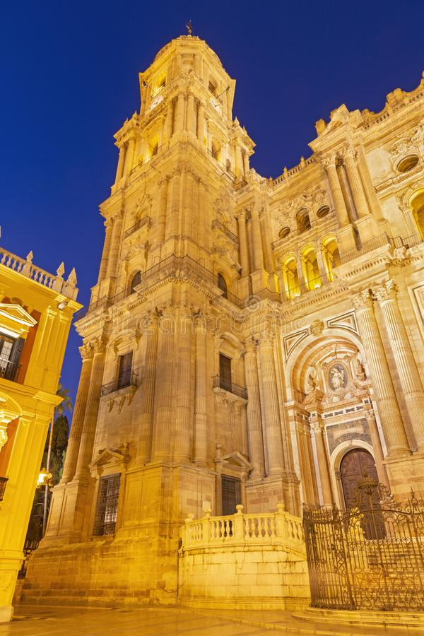 Malaga - The Cathedral tower at dusk. Spain - Malaga - The Cathedral tower at dusk royalty free stock photography