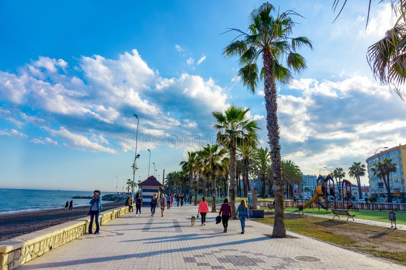 Spain, Malaga - 04.04.2019: Pathway along the malagueta beach at Malaga, Spain, Europe on a bright summer day royalty free stock photo
