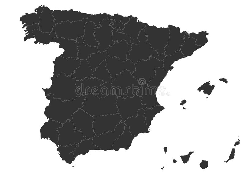 Spain map. Blind map of Spain with regions borders. Names of the regions, main cities, and neighbouring countries are in an additional format (. AI) in the