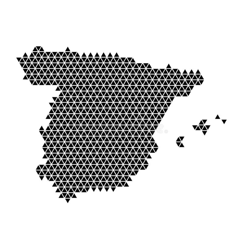Spain map abstract schematic from black triangles repeating pattern geometric background with nodes. Vector illustration royalty free illustration