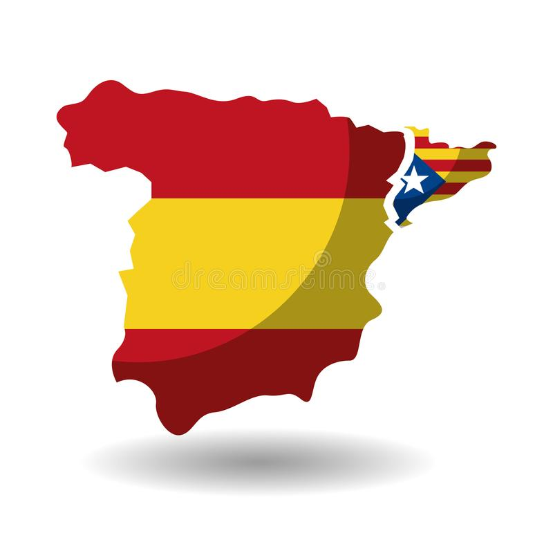 Spain map and catalonia flag independence vector illustration