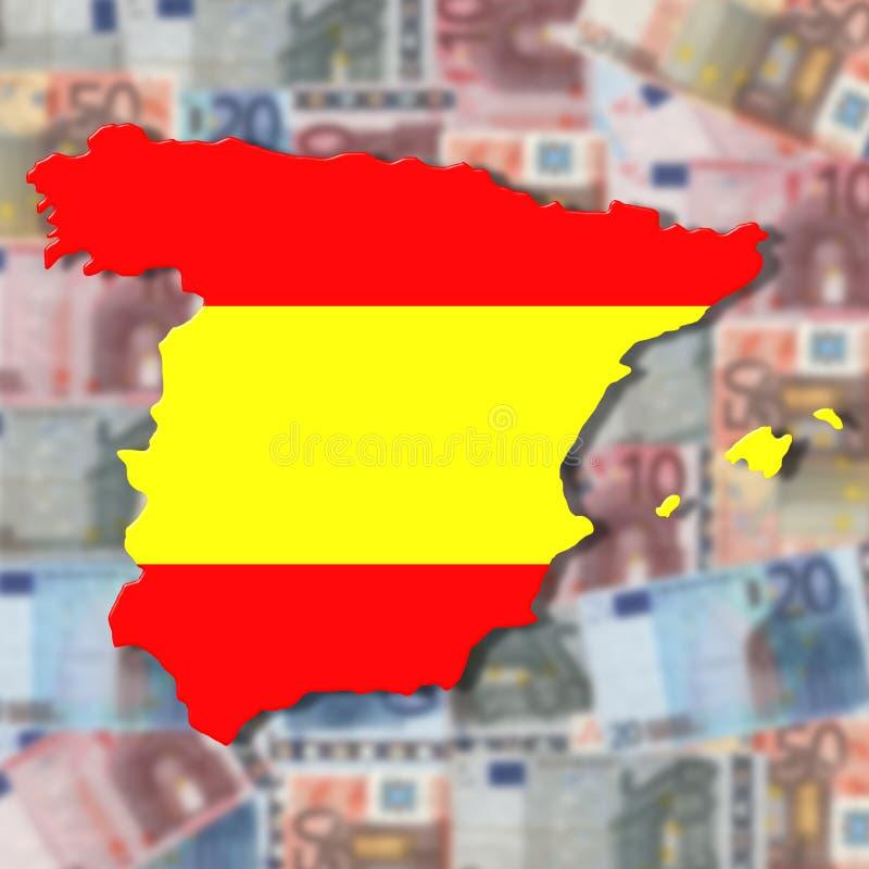 Spain Map flag on blurred euro