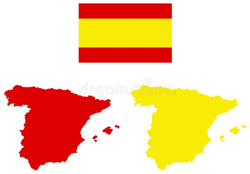 Spain map and flag - sovereign state on the Iberian Peninsula in Europe. Vector file of Spain map and flag - sovereign state mostly located on the Iberian royalty free illustration