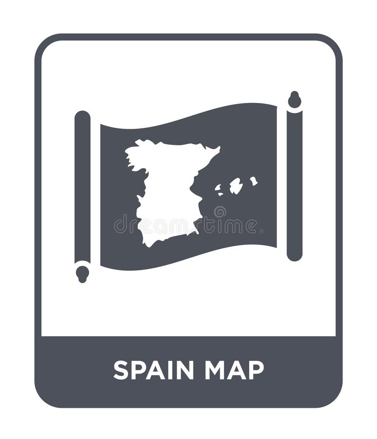 Spain map icon in trendy design style. spain map icon isolated on white background. spain map vector icon simple and modern flat. Symbol for web site, mobile stock illustration