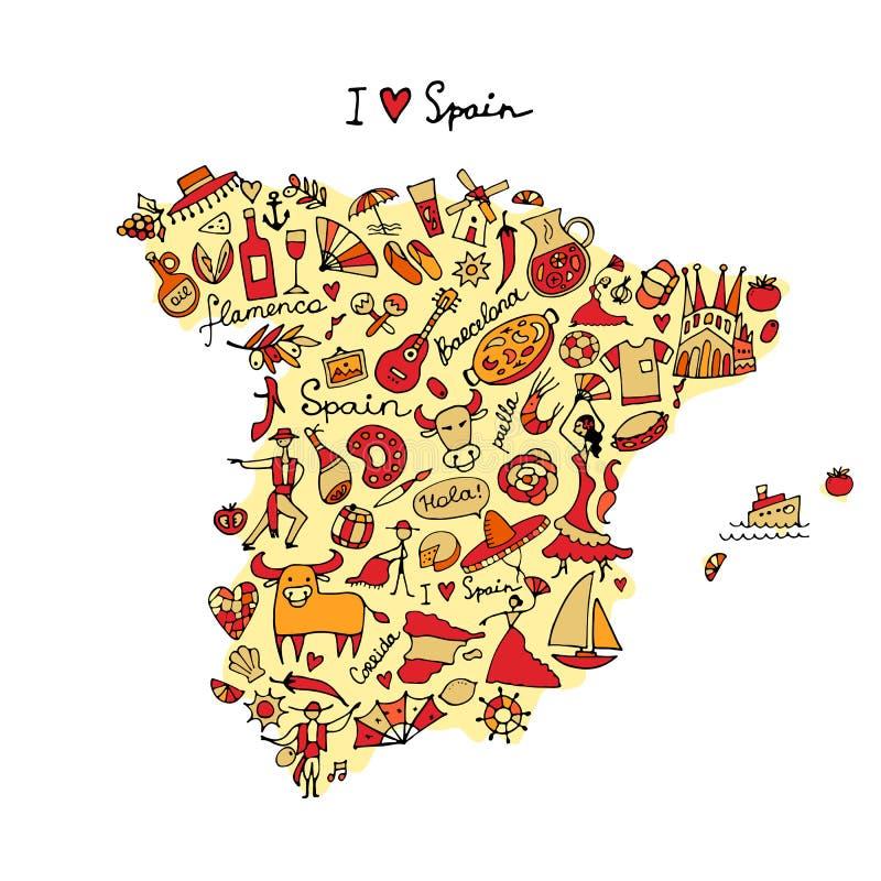 Spain map made from design elements. Sketch for your design. Vector illustration stock illustration
