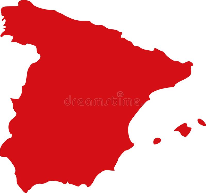 Spain map Europe. Spain map Madrid Europe vector royalty free illustration