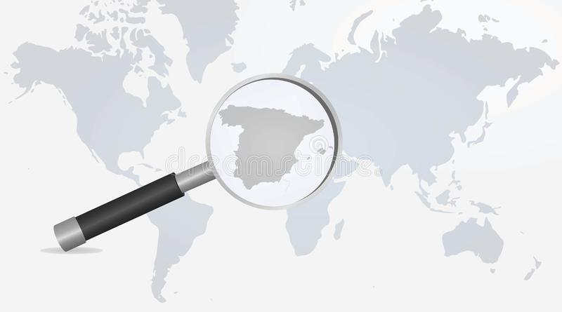 Spain map in magnifying glass stock illustration