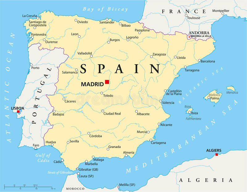 Spain Map Stock Vector Image Of Gibraltar Grenada Madrid - Grenada map download