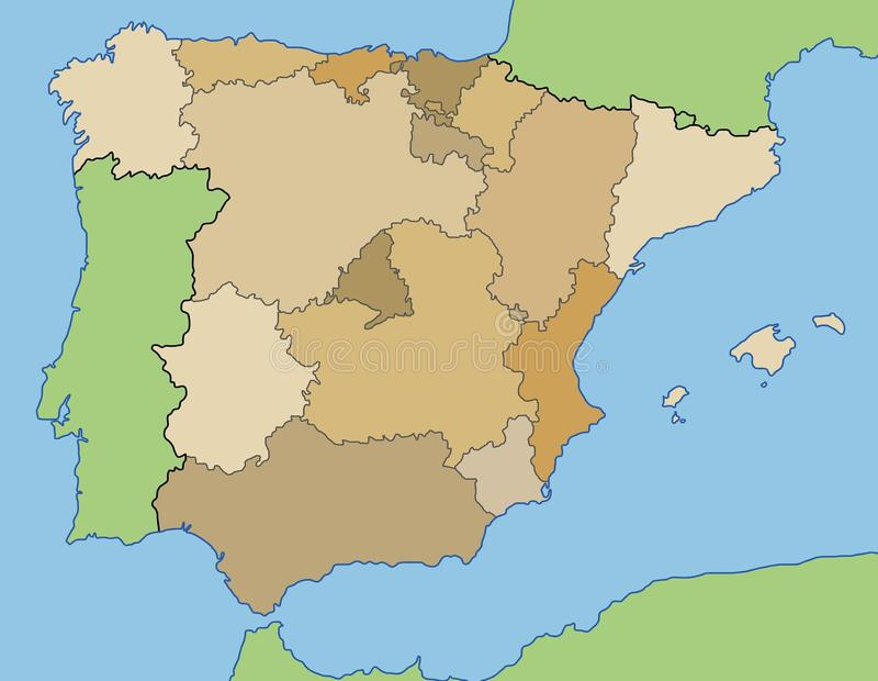 Spain map. Map of Spain. Outline illustration country map vector illustration