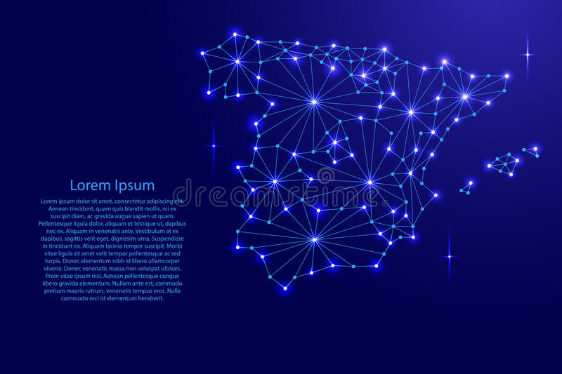 Spain map of polygonal mosaic lines network, rays, space stars. Spain map of polygonal mosaic lines network, rays and space stars of vector illustration royalty free illustration