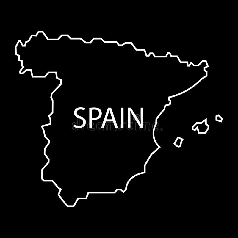 Spain map sign. White outline of Spain on a black background. Eps ten royalty free illustration