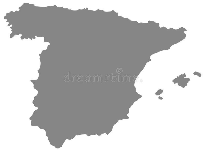 Spain map - sovereign state on the Iberian Peninsula in Europe. Vector file of Spain map - sovereign state mostly located on the Iberian Peninsula in Europe royalty free illustration
