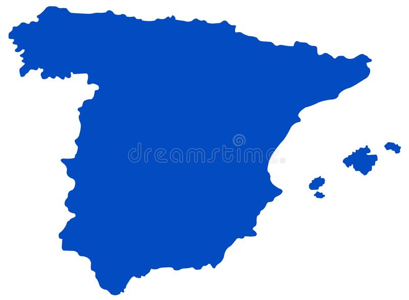 Spain map - sovereign state on the Iberian Peninsula in Europe. Vector file of Spain map - sovereign state mostly located on the Iberian Peninsula in Europe stock illustration