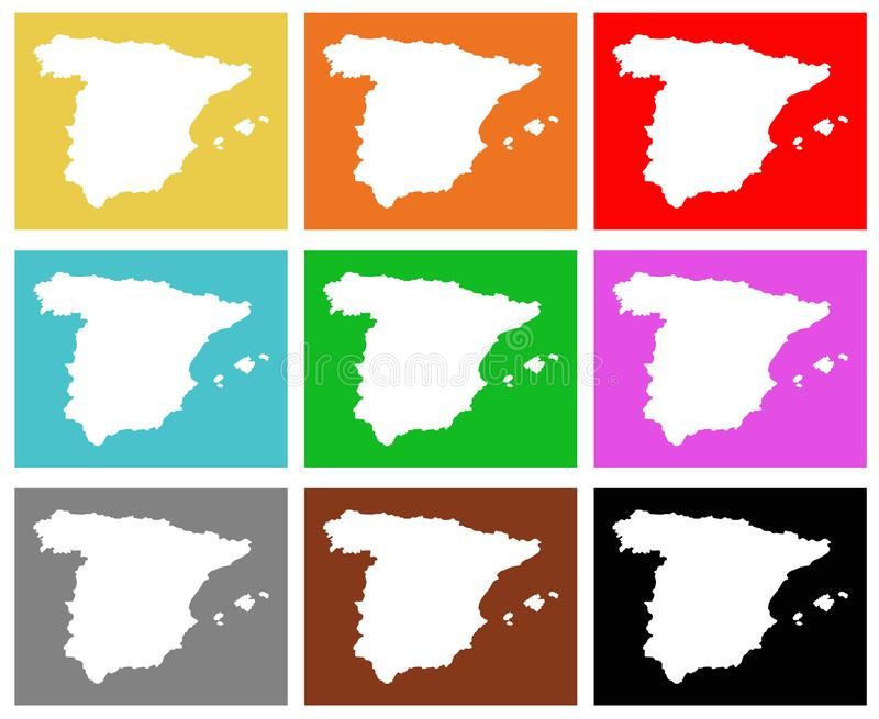 Spain map - sovereign state on the Iberian Peninsula in Europe. Vector file of Spain map - sovereign state mostly located on the Iberian Peninsula in Europe vector illustration