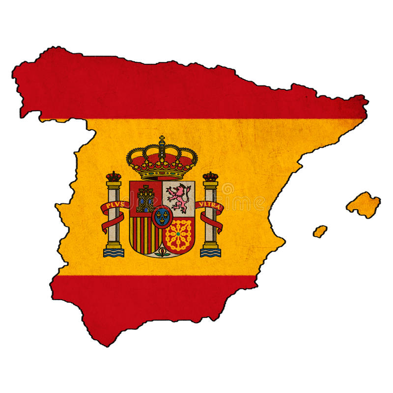 Spain Map On Spain Flag Drawing Stock Illustration Illustration - Map of spain