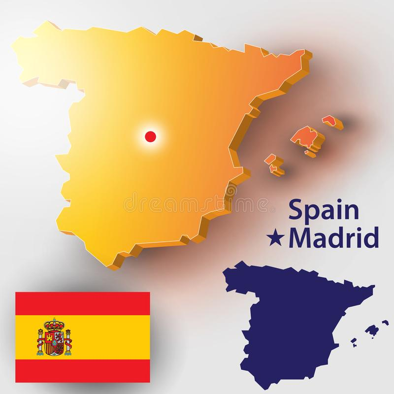 Spain. Map of Spain. Vector silhouette of the Spanish flag. The country`s capital - Madrid stock illustration