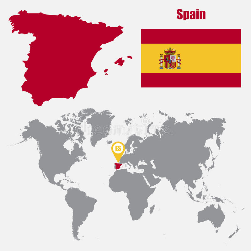 Spain Map On A World Map With Flag And Map Pointer Vector - Spain on world map