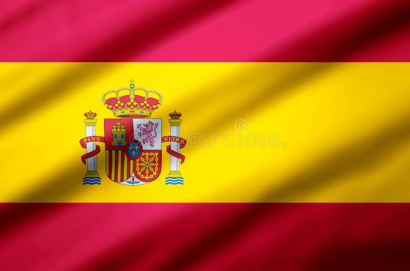Spain realistic flag illustration. Usable for Background and Texture royalty free illustration