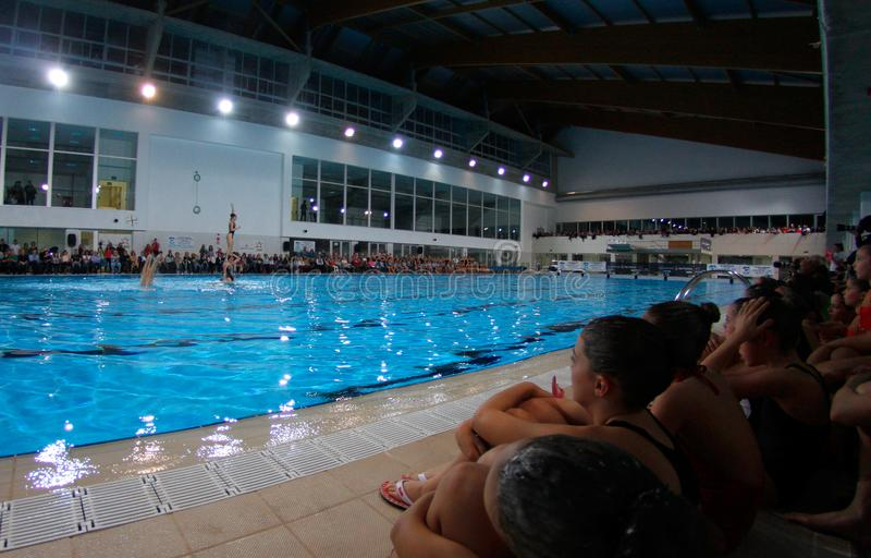 Synchronized swimming exhibition royalty free stock image