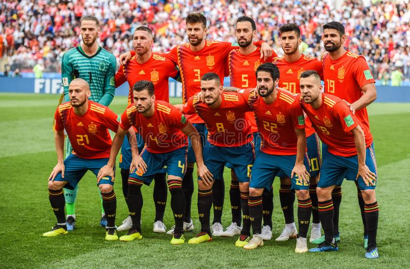 Spain national team before FIFA World Cup 2018 Round of 16 match Spain vs Russia. Moscow, Russia - July 1, 2018. Spain national team before FIFA World Cup 2018 stock photography