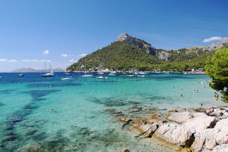 Spain. Palma de Majorca. Blue water of Mediterranean sea. Fantastic view on beach. stock photography
