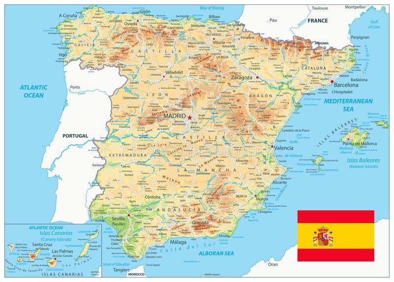 Spain Physical Map. – highly detailed vector illustration. Image contains layers with shaded contours, land names, city names, water objects and it`s vector illustration