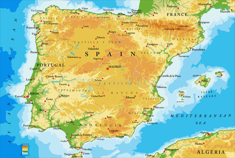 Spain physical map. Highly detailed physical map of Spain,in vector format,with all the relief forms,regions and big cities vector illustration