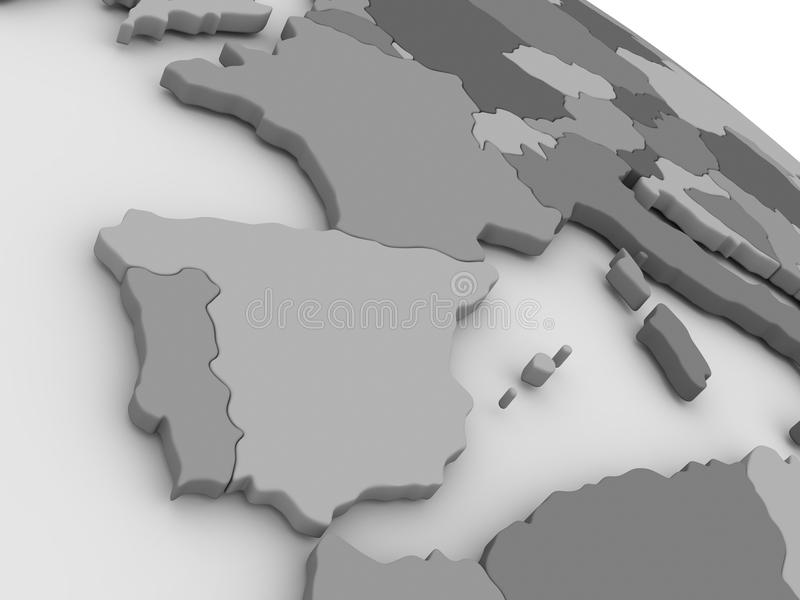 Spain and Portugal on grey 3D map stock illustration