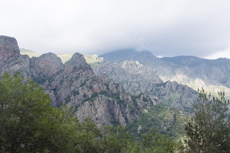 SPAIN PYRENEES ROCKY MOUNTAINS LANDSCAPE IN NURIA VALLEY IN CATALAN PROVINCE. royalty free stock photography