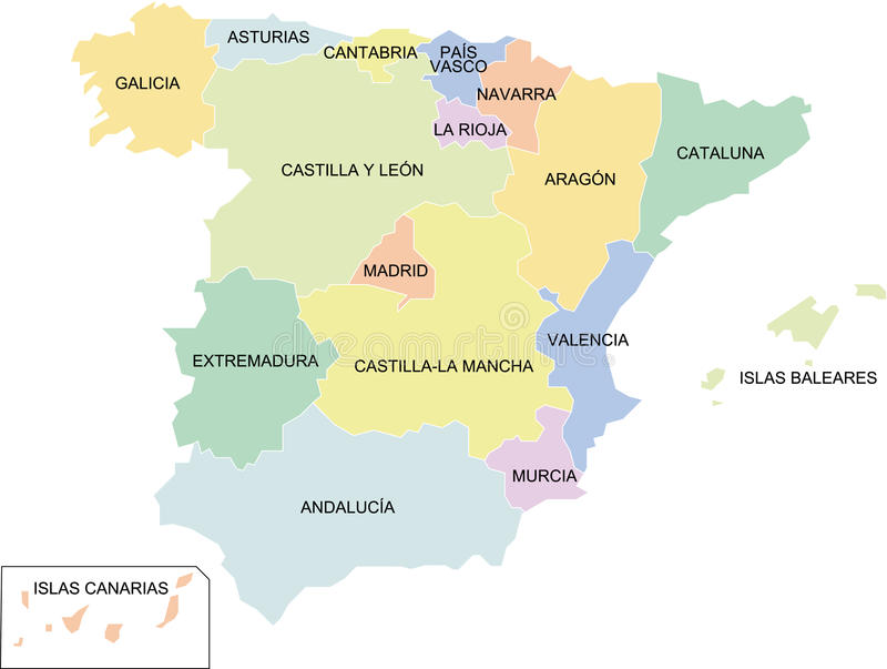 Spain regions. A political map of Spain showing the different regions vector illustration