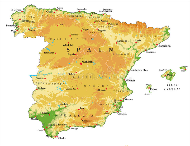 Spain relief map. Highly detailed physical map of Spain,in vector format,with all the relief forms,regions and big cities stock illustration