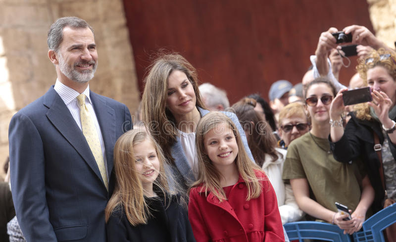 Spain royal family. King Felipe, Queen Letizia and princesses Leonor L and Sofia pose after attending an easter mass in the Cathedral of Majorca, Spain royalty free stock images