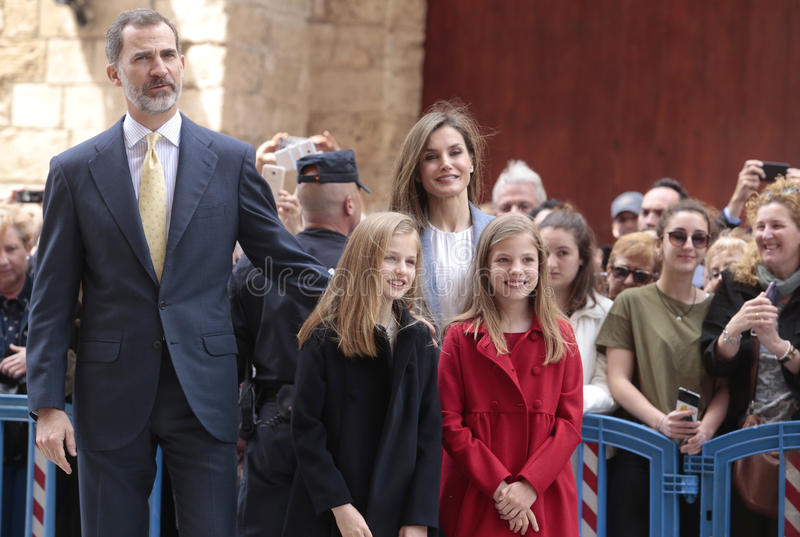 Spain royal family pose in Majorca. Spain royal family king Felipe, Queen Letizia and princesses Leonor L and Sofia pose after attending an easter mass in the royalty free stock image