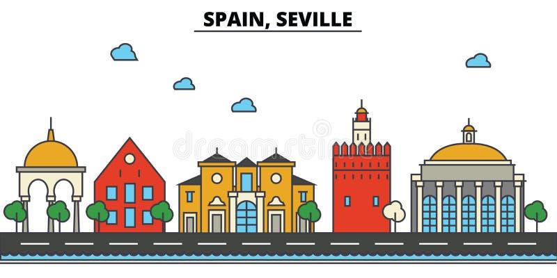 Spain, Sevilha Arquitetura da skyline da cidade editable ilustração do vetor