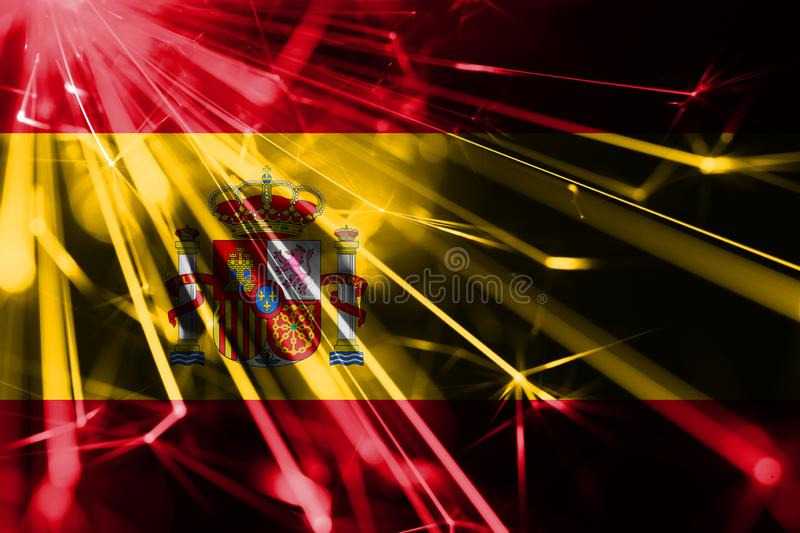 Spain shining fireworks sparkling flag. New Year 2019 and Christmas futuristic shiny party concept flag. Spain shining fireworks sparkling flag. New Year 2019 vector illustration