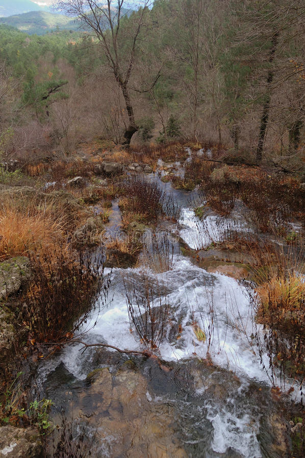 Spain: source of the Mundo River. Spain, region of Castilla La Mancha, source of the Mundo River stock image