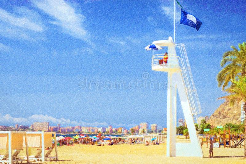 Lifeguard on beach tower in Alicante, Spain royalty free stock photos