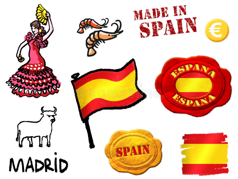 Download Spain symbols stock illustration. Image of shrimp, flag - 4757997
