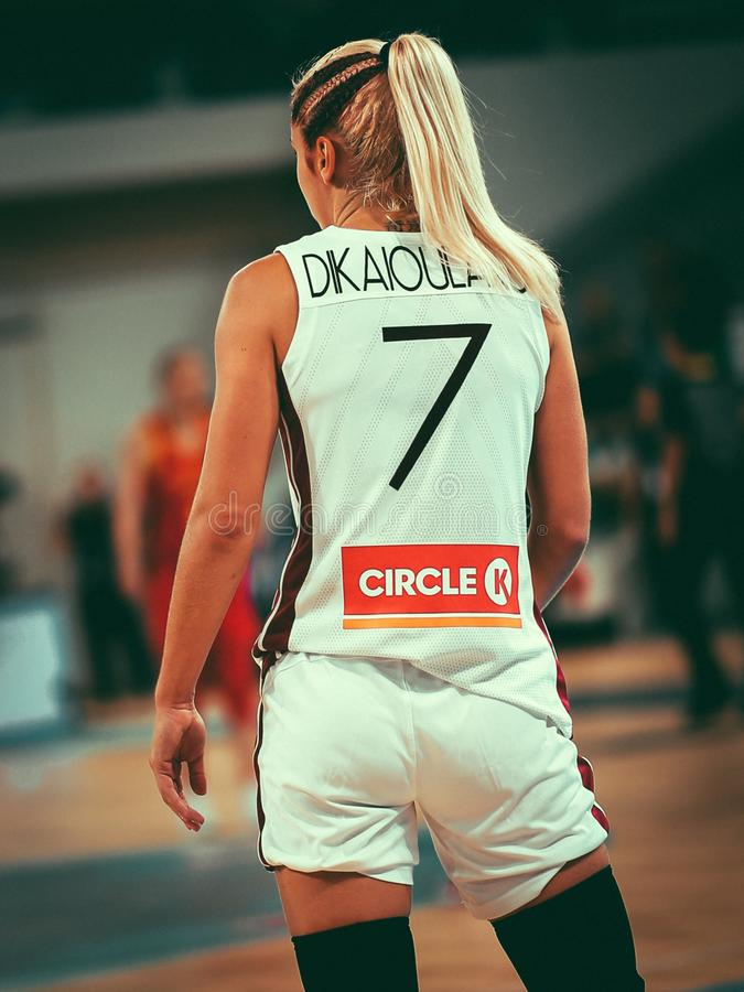 Dikaioulaku Elina during basketball match LATVIA vs CHINA royalty free stock images